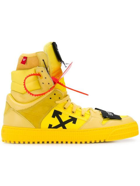 Off-White Men's Off Court High-Top Leather Sneakers In Yellow