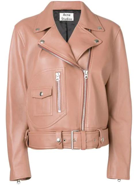 Acne Studios Merlyn Oversized Leather Biker Jacket In Orange