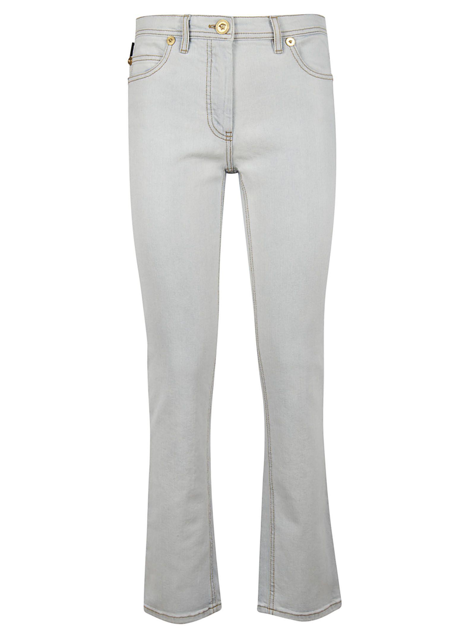 Versace Swarovski Medusa Logo Skinny Jeans In Light Blue