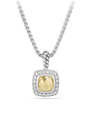 David Yurman Petite Albion Pendant Necklace With Diamonds In Gold Dome
