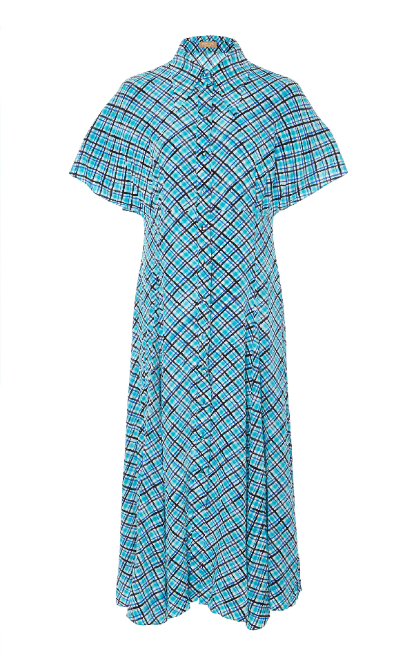 Michael Kors Madras Silk Crepe De Chine Midi Dress In Blue
