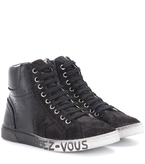 Saint Laurent Mixed Leather High-Top Sneakers In Black