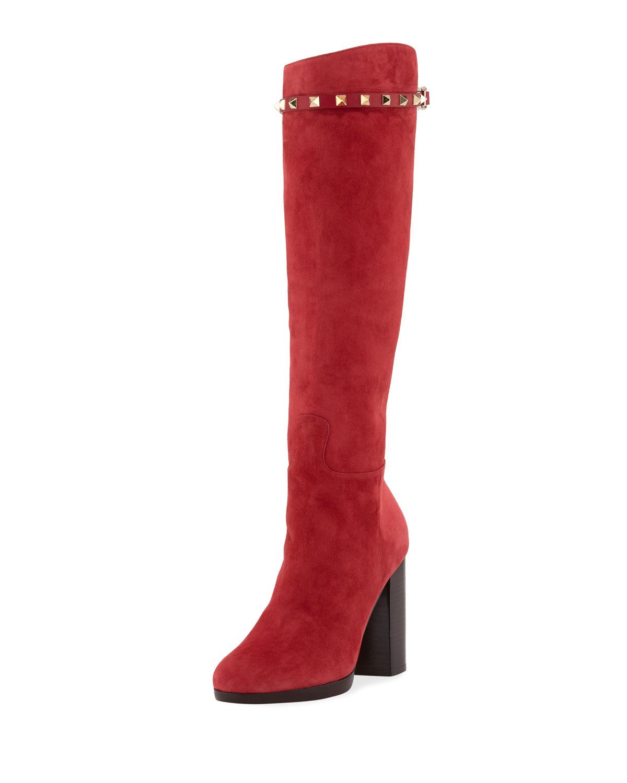 Valentino Rockstud Suede Knee Boots In Scarlet