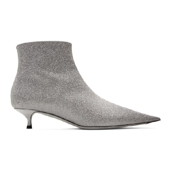 b13ce15641 Balenciaga Leather Glitter Kitten Heel Booties In 8100 Silver | ModeSens