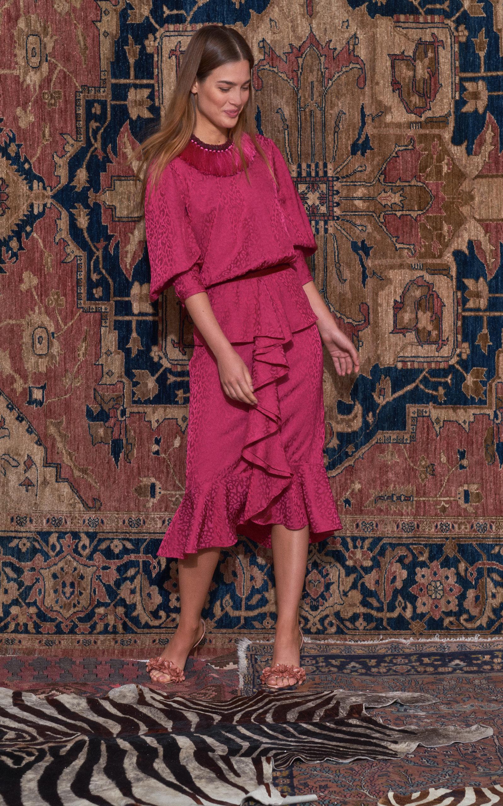 Harlem Renaissance Ruffled Crepe Midi Dress in Pink