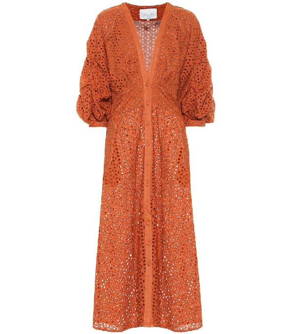 Johanna Ortiz Magical Discipline Broderie Anglaise Cotton Midi Dress In Orange