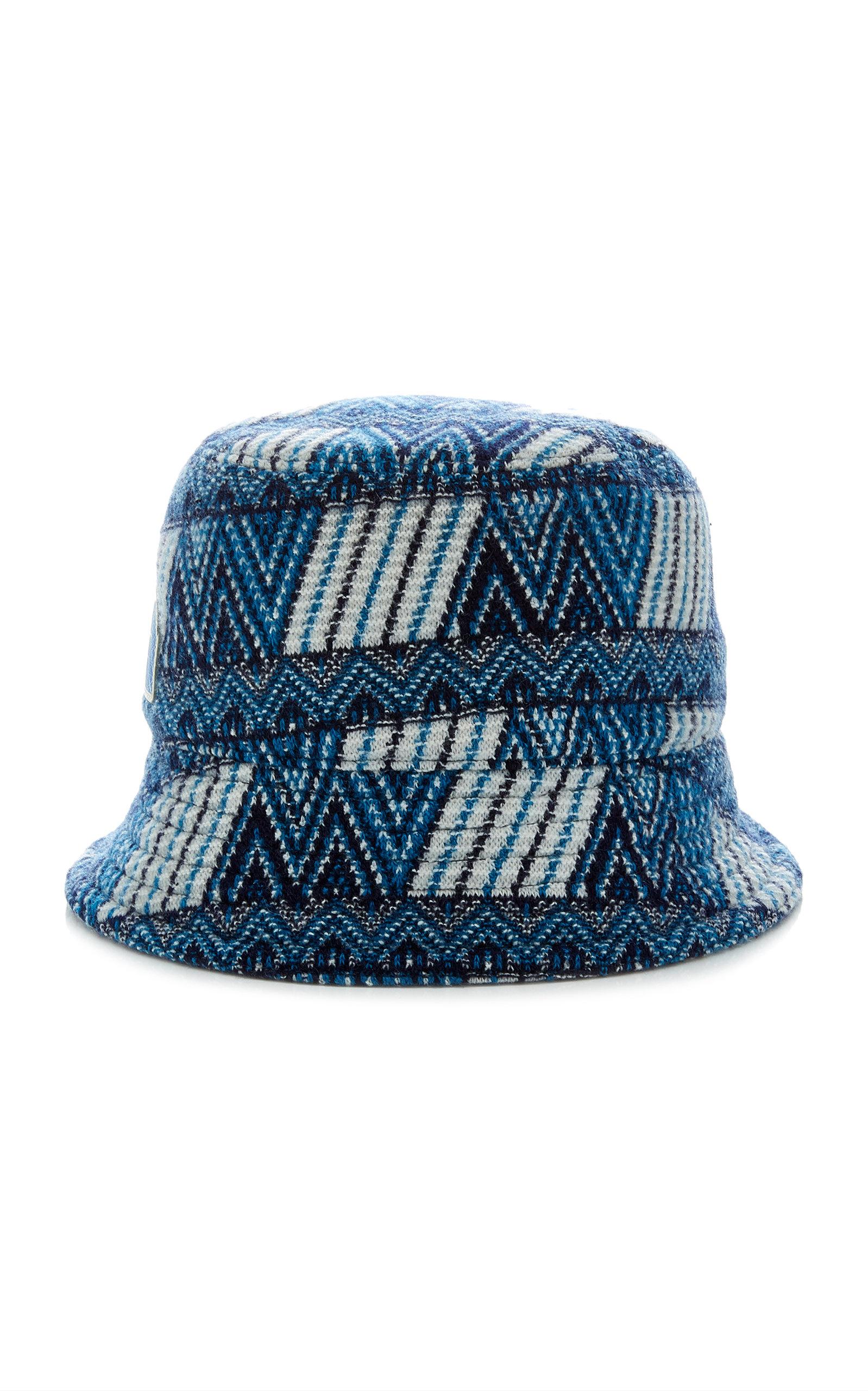 1d2c9c70da9 Prada Patterned Wool Bucket Hat In Blue | ModeSens