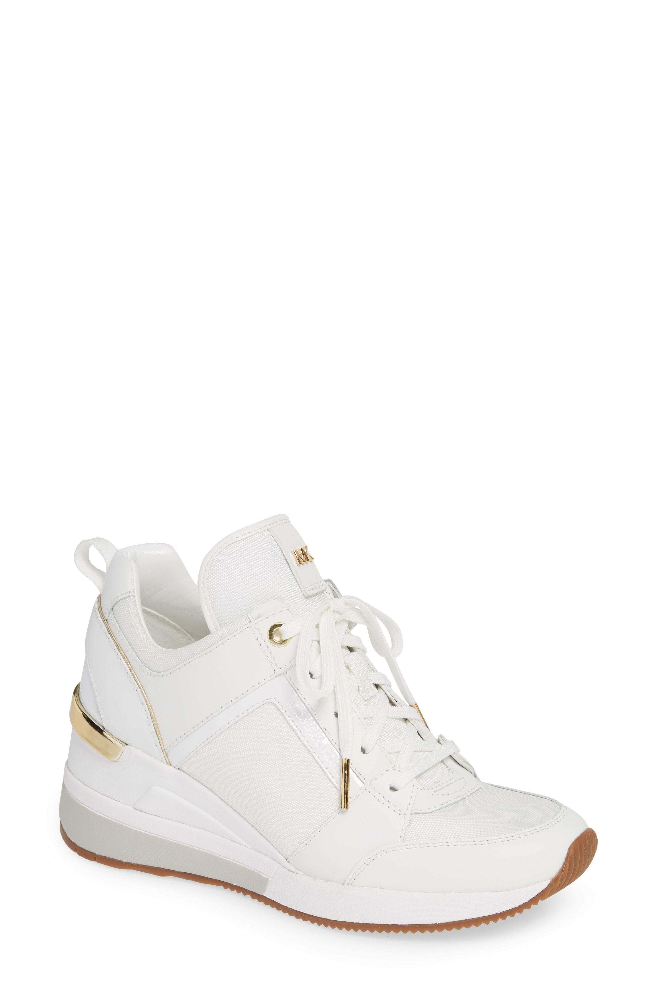 aa3d67ffe65 Michael Michael Kors Georgie Wedge Sneaker In Optic White Fabric ...