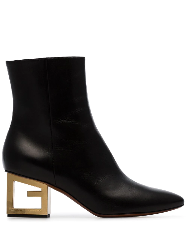 9f4140f8a Givenchy Leather Pointed Ankle Booties With Logo Golden Heel In Black