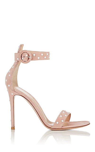 Gianvito Rossi Embellished Suede Ankle-Strap Sandals In Pink