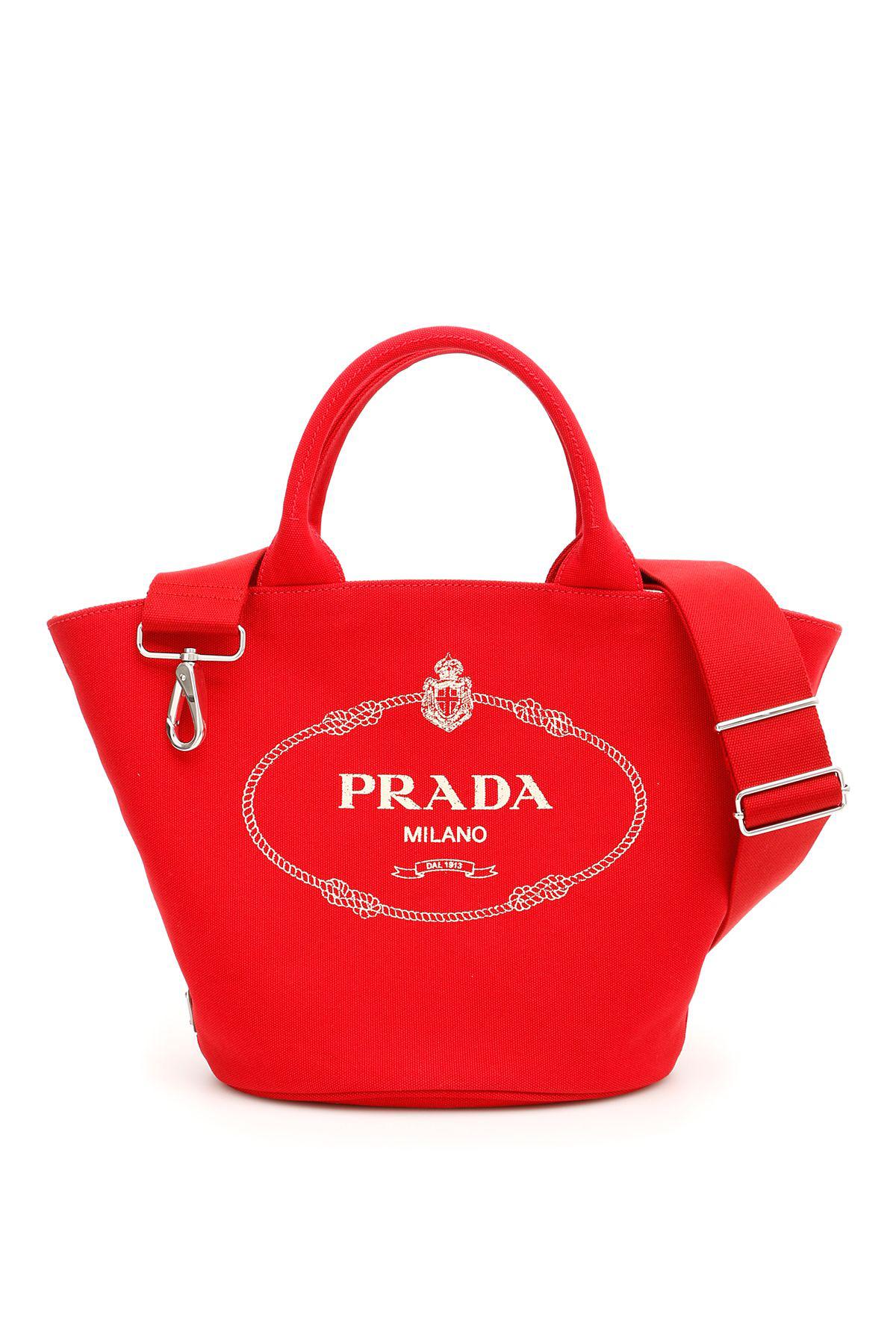 2db7e7bfa8db Prada Logo Hemp Shopping Bag In Rosso Rosso   ModeSens