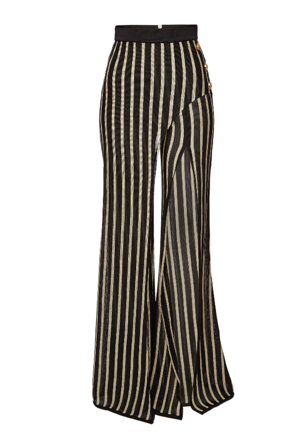 Balmain Striped Wide-Leg Fine-Knit Trousers In Black