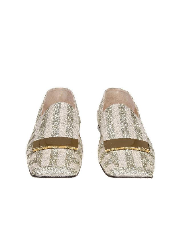 Sergio Rossi Slippers In Laminate Striped Fabric Platinum Color In Beige