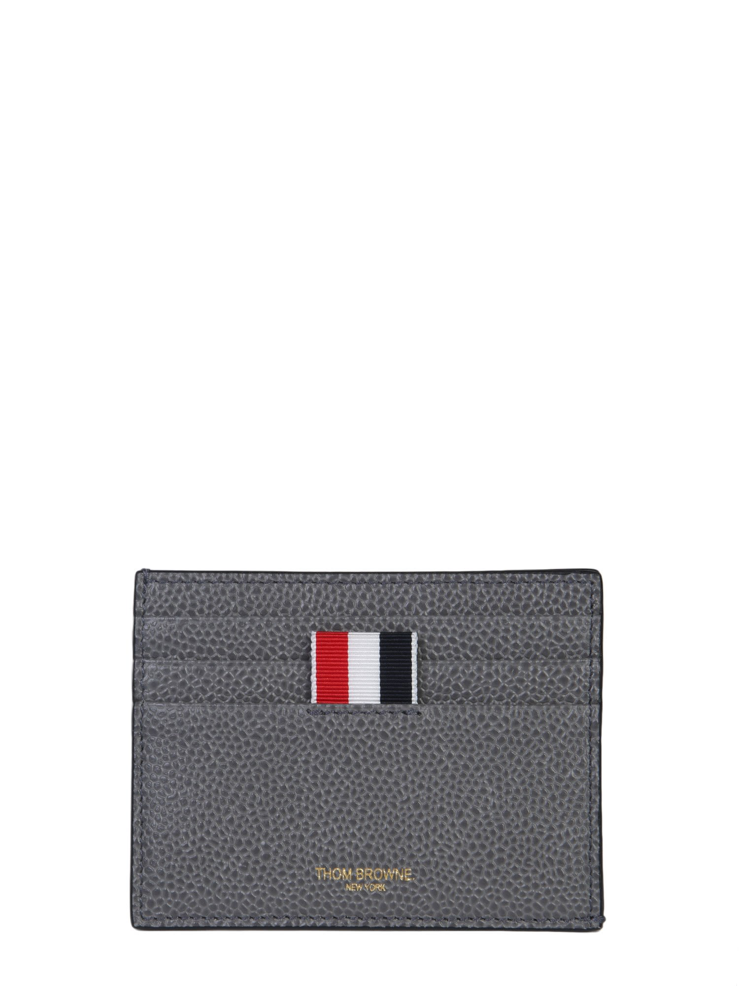dc3e3d6cf4 Thom Browne Leather Card Holder In Grigio   ModeSens