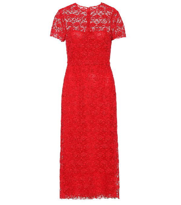Valentino Floral Lace Midi Dress In Red