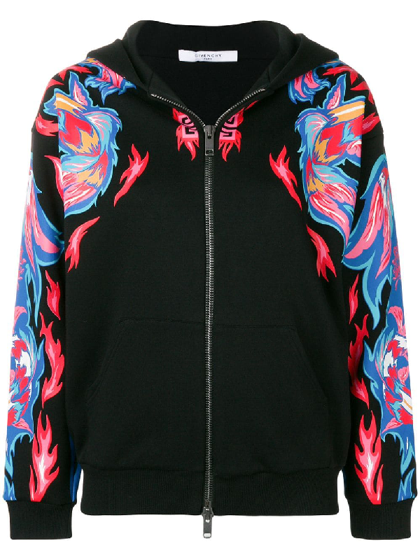 Givenchy Dragon-Printed Cotton Hoodie In Black