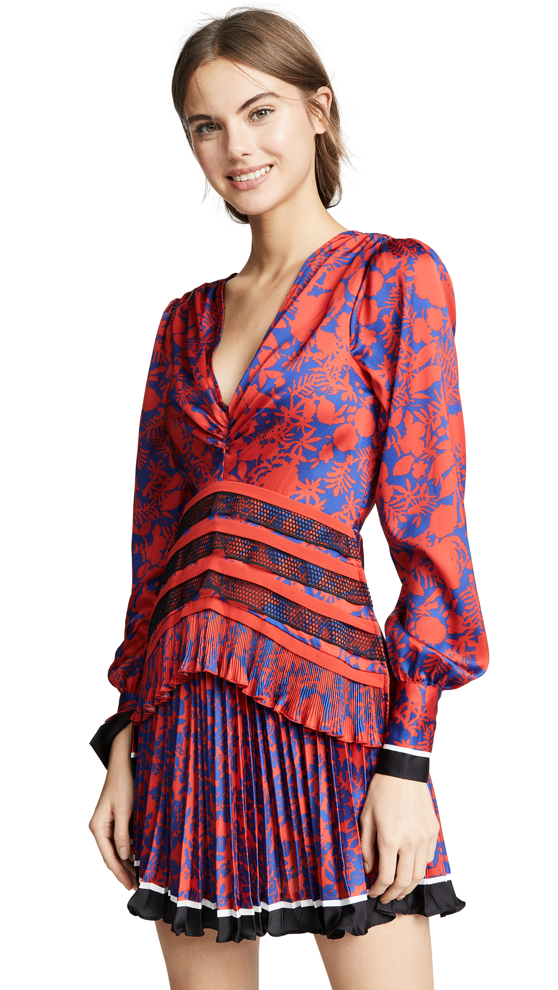 2f7b1531b6b Self-Portrait Shot Floral Dress With Flounces In Red Blue