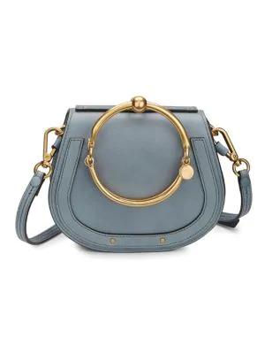 4c71939758ff ChloÉ Small Nile Leather   Suede Bracelet Bag In Dark Blue