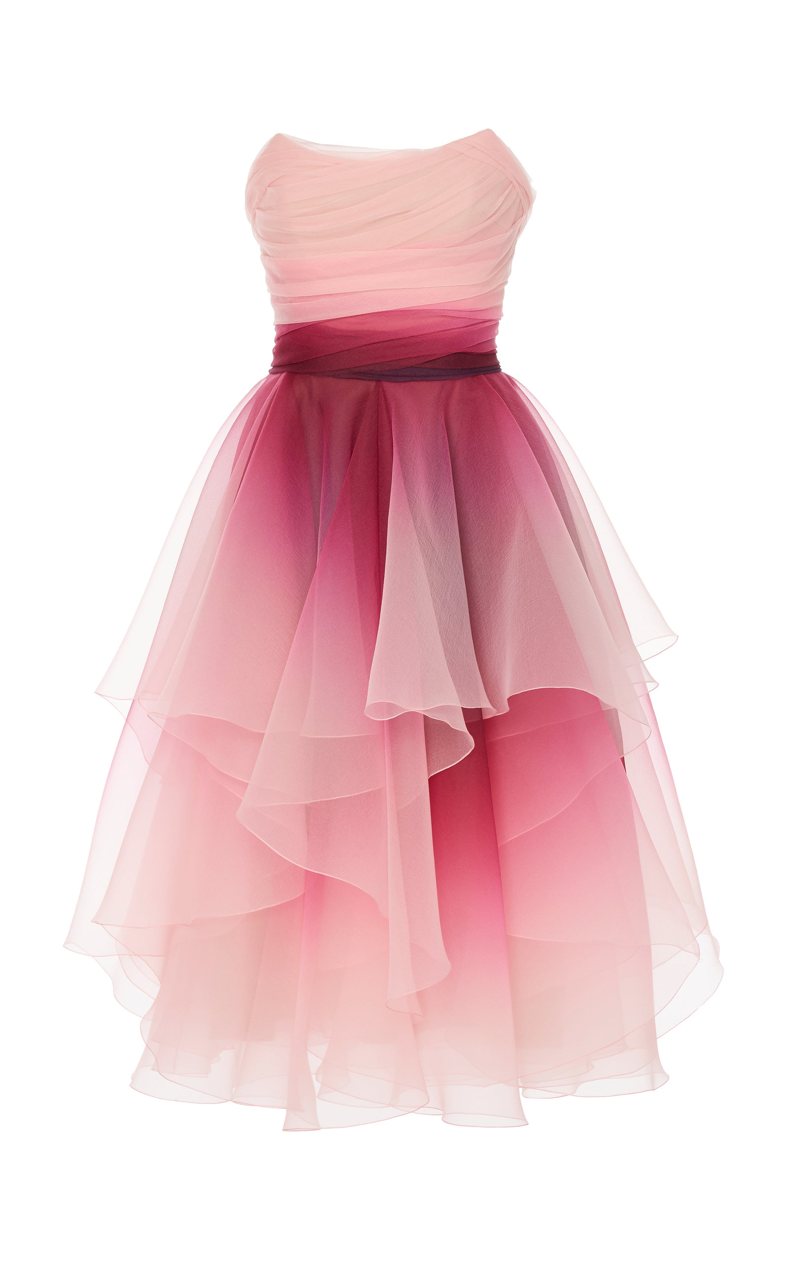 45a2afb32ac Marchesa Strapless Ombre Organza A-Line Cocktail Dress In Pink ...