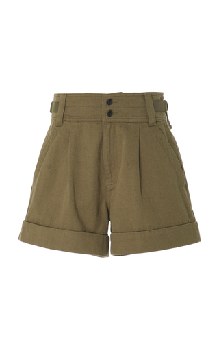 Current Elliott Relaxed Army Utility Cotton-linen Shorts In Green