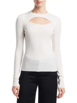 A.L.C Nell Cutout Wool-Blend Sweater In White