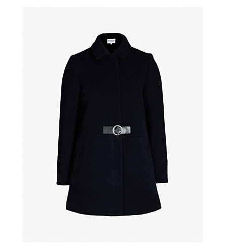 Claudie Pierlot Gingembre Belted Wool-Blend Coat In Navy