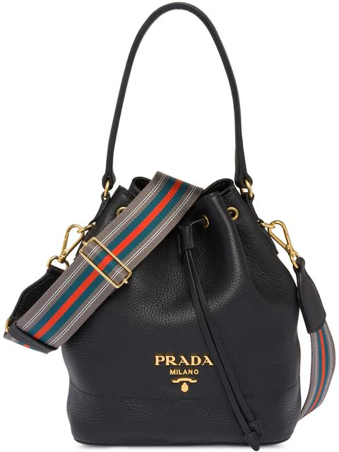 Prada Daino Top-Handle Bucket Bag With Web Strap In Black