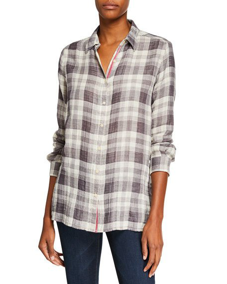 e08d1d04c7f Johnny Was Hisako Plaid Button-Front Embroidered Back Shirt In Multi ...