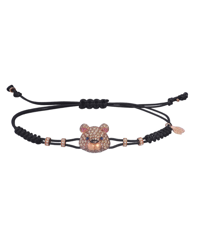 0e6680febe49 Pippo Perez 18K Pink Gold Brown & White Diamond Toy Bear Pull-Cord Bracelet