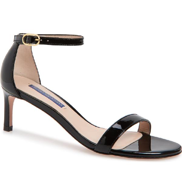Stuart Weitzman Nunaked Straight Patent Leather Sandals In Black