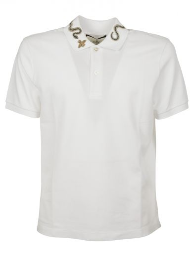 54ffdae88bf Gucci Bee & Snake Embroidered Polo Shirt In White/Black | ModeSens