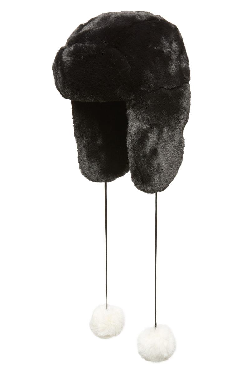 d0eff57ba69 Heurueh Luxe Faux Fur Trapper Hat - Black In Black White