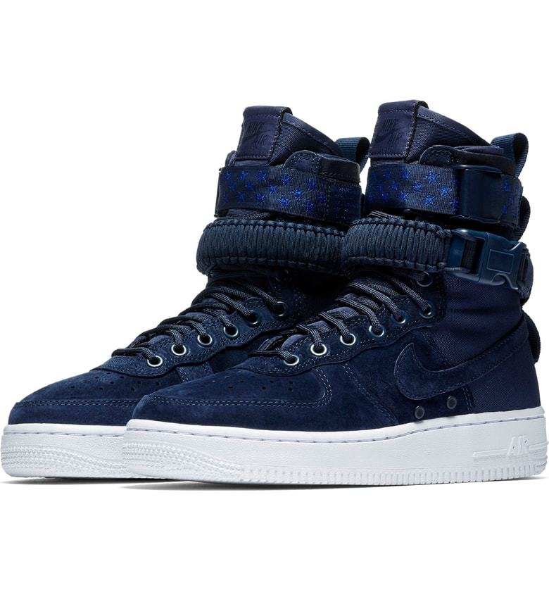 low priced f40f4 a8399 Nike Sf Air Force 1 High Top Sneaker In Midnight Navy | ModeSens