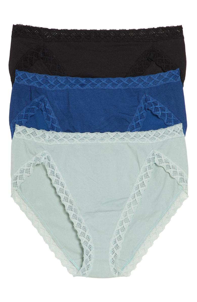 523038c410e7 Natori Bliss French Cut Bikinis, Set Of 3 In Black/ Cadet Blue/ Spearmint