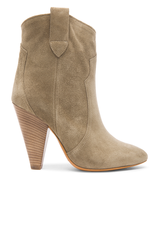 Isabel Marant Etoile Roxann Calfskin Velvet Leather Booties In Neutrals,Gray