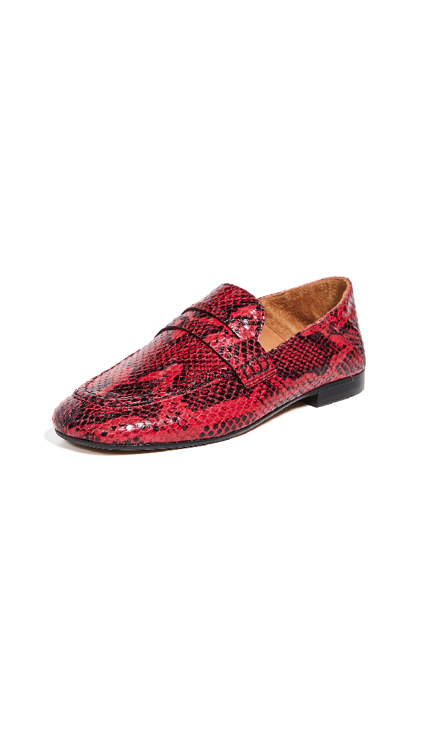 1c5c345d511 Isabel Marant Fezzy Snakeskin-Stamped Leather Penny Loafers In Red ...