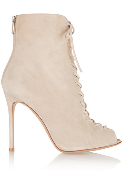 Gianvito Rossi Woman Lace-Up Suede Ankle Boots Ecru In White