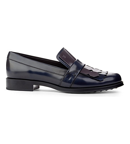 Tod's Gomma Leather Fringe Loafers In Blue/Drk.C