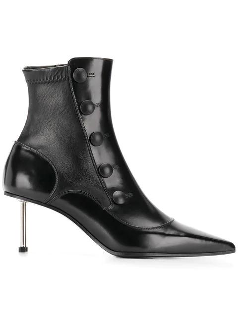 Alexander Mcqueen Victorian Black Leather Medium Heel Boot