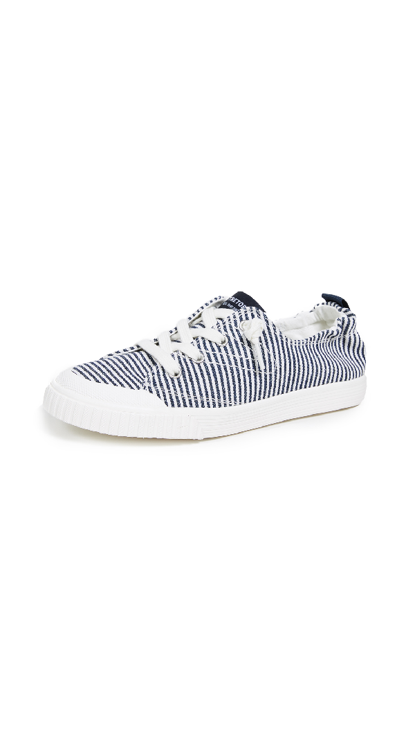 Tretorn Meg Metallic Striped Low-top Sneakers In Blue/white