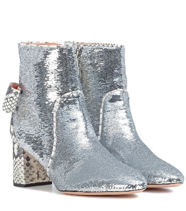Rochas Sequinned Ankle Boots In Silver