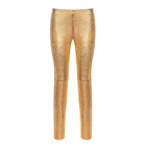 Nissa Natural Leather Slim Pants Gold