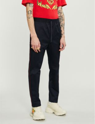 Gucci Side-Stripe Regular-Fit Tapered Cotton Trousers In Blue