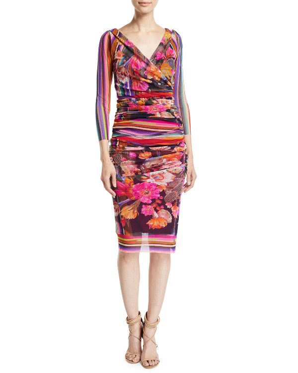 Fuzzi Cactus 3/4-Sleeve V-Neck Fitted Floral-Print Dress In Dark Ness