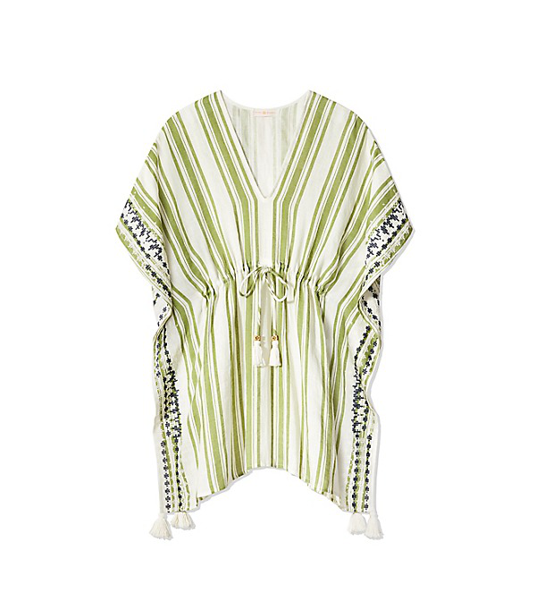 Tory Burch Ravena Awning-Stripe Beach Caftan In New Ivory / Rich Olive / Tory Navy