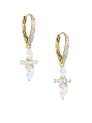 4c08be677 ADRIANA ORSINI. 18K Goldplated Silver & Cubic Zirconia Leverback Earrings