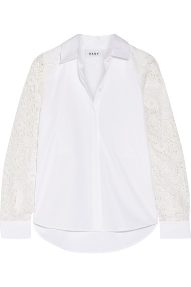 Dkny Collared Lace-Trim Poplin Shirt, White