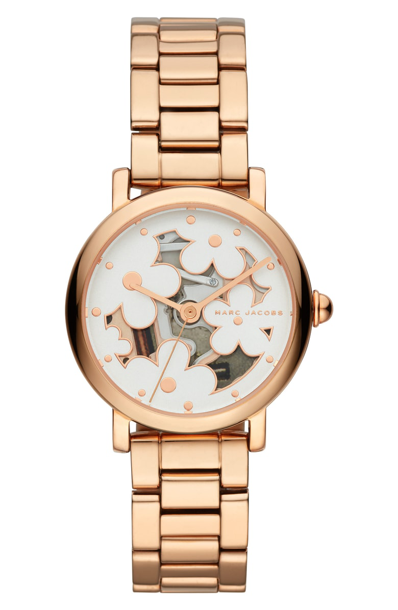 Marc Jacobs Classic Bracelet Watch, 28Mm In Rose Gold/ White/ Rose Gold