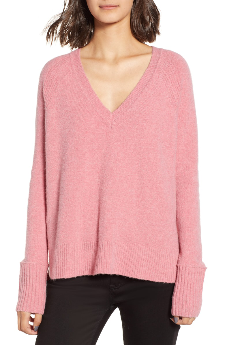 J.Crew Supersoft Yarn V-Neck Sweater In Intense Pink