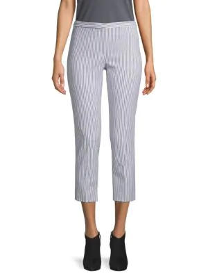 Theory Striped Cropped Pants In White Navy
